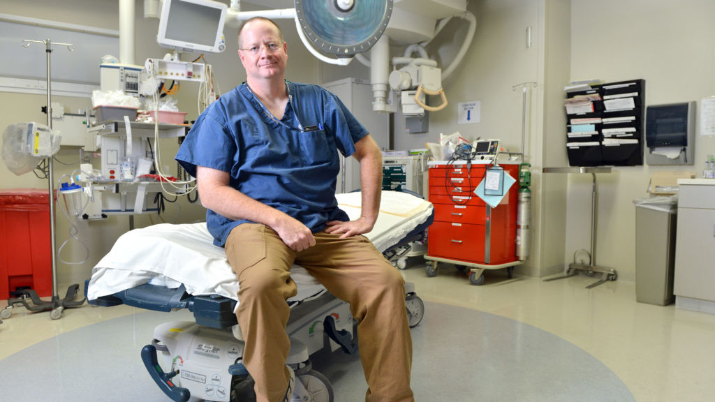 Dr. Edward Boyer, Professor of Emergency Medicine University of Massachusetts Medical School in a trauma bay at  the UMass-Memorial Medical Center. Josh Reynolds for STAT (Boodman)